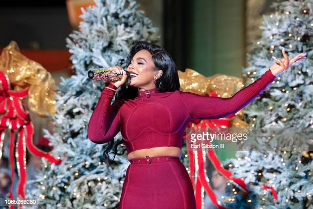 Ashanti performs at the 87th Annual Hollywood Christmas Parade on November 25 2018 in Hollywood California