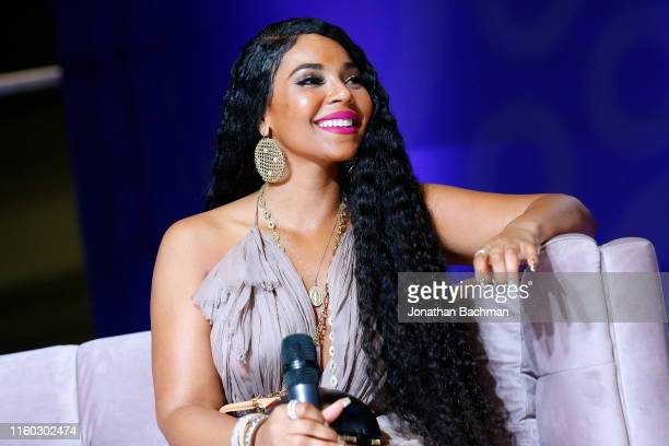Ashanti reacts during SiriusXM's Radio Andy Channel Broadcast from Essence Festival at Ernest N Morial Convention Center on July 05 2019 in New...