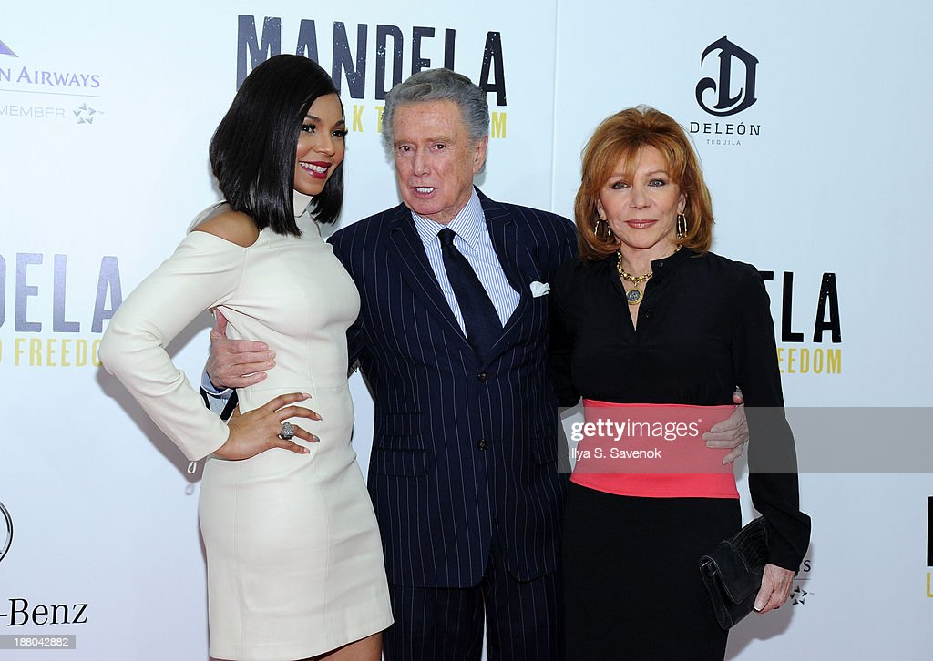 Ashanti, Regis Philbin and his wife Joy Philbin attend the New York premiere of 'Mandela: Long Walk To Freedom' hosted by The Weinstein Company, Yucaipa Films and Videovision Entertainment, supported by Mercedes-Benz, South African Airways and DeLeon Tequila at Alice Tully Hall, Lincoln Center on November 14, 2013 in New York City.
