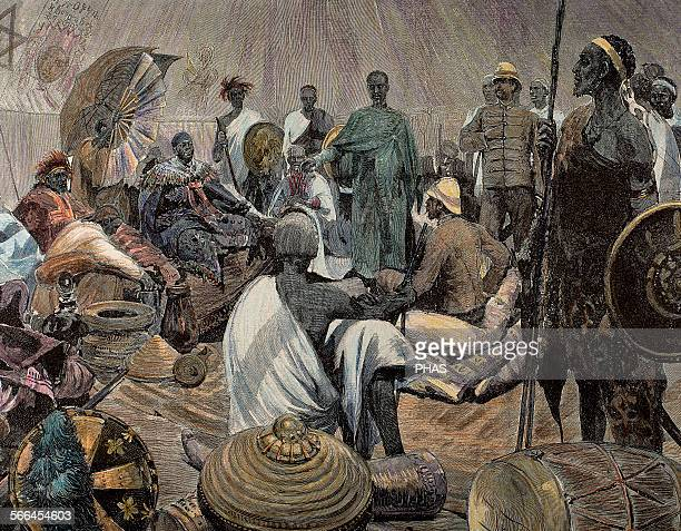 Ashanti rulers talking with British officers. Central Region of Ghana. Colored engraving.