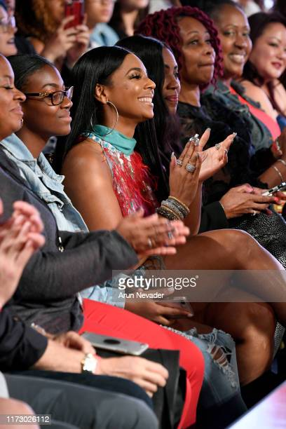 Ashanti sits front row during REBECCA JUSTH at New York Fashion Week Powered by Art Hearts Fashion NYFW September 2019 at The Angel Orensanz...