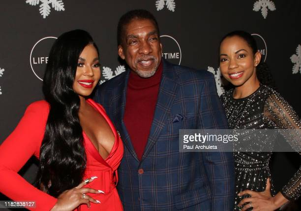 Ashanti Stan Shaw and Sashani Nichole attend the It's A Wonderful Lifetime Holiday Party at STK Los Angeles on October 22 2019 in Los Angeles...