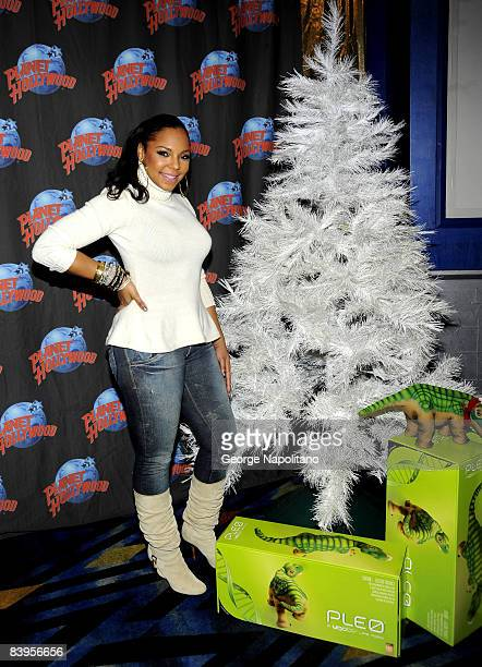 Ashanti visits Planet Hollywood on December 8, 2008 in New York City.