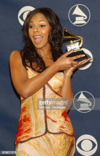 Ashanti with the Grammy award for Best Contempoaray RB Album at the 45th Annual Grammy Awards at Madison Square Garden in New York City USA