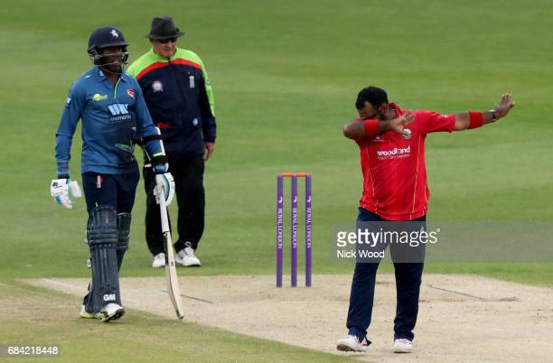 Ashar Zaidi 'dabs' to celebrate a wicket during the Royal London OneDay Cup between Kent and Essex at the Spitfire Ground on May 17 2017 in...