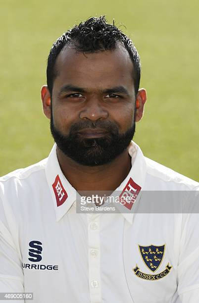 Ashar Zaidi during the Sussex County Cricket Photocall at BrightonandHoveJobs.com County Ground on April 9, 2015 in Hove, England.