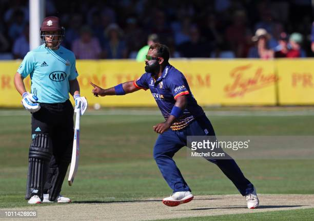 Ashar Zaidi of Essex celebrates taking the wicket of Jason Roy of Surrey during the Vitality Blast T20 match between Essex Eagles and Surrey at The...