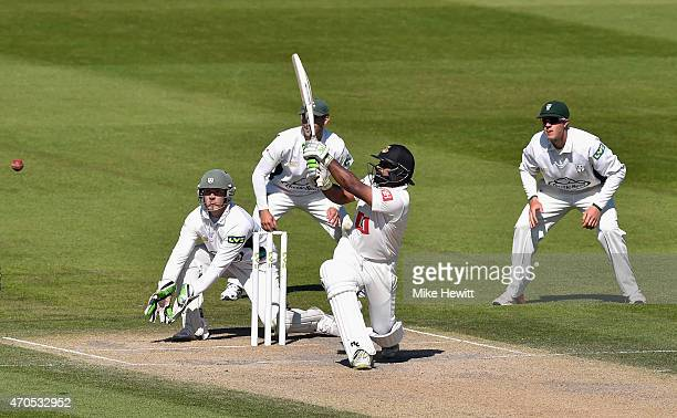 Ashar Zaidi of Sussex hits a boundary during Day 3 of the LV County Championship match between Sussex and Worcestershire at BrightonandHoveJobs.com...