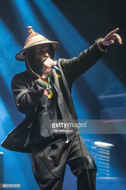 Asheber performs Sun Tzu live on stage with Akala at O2 Shepherd's Bush Empire on April 27 2018 in London England