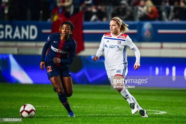 Ashely Lawrence of PSG and Eugenie Le Sommer of Lyon during the Women's Division 1 match between Paris Saint Germain and Olympique Lyonnais on...
