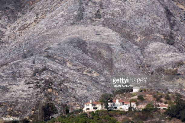 Ashen hillsides that were burned in burned in the Thomas Fire take on a nearly winterlike appearance on December 20 2017 near Carpinteria California...
