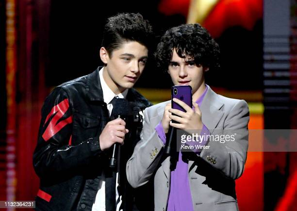 Asher Angel and Jack Dylan Grazer speak onstage at Nickelodeon's 2019 Kids' Choice Awards at Galen Center on March 23, 2019 in Los Angeles,...