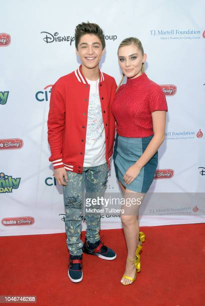 Asher Angel and Meg Donnelly attend the 9th annual LA Family Day hosted by the TJ Martell Foundation at The Grove on October 6 2018 in Los Angeles...