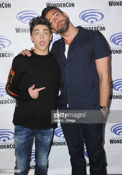 Asher Angel and Zachary Levi pose backstage promoting Warner Bros 'Shazam' at WonderCon 2019 Day 2 held at Anaheim Convention Center on March 30 2019...