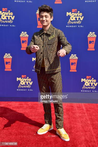 Asher Angel attends the 2019 MTV Movie and TV Awards at Barker Hangar on June 15 2019 in Santa Monica California