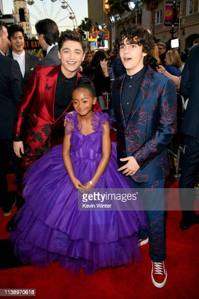 Asher Angel Jack Dylan Graze and Faithe Herman attend the Warner Bros Pictures And New Line Cinema's World Premiere Of SHAZAM at TCL Chinese Theatre...