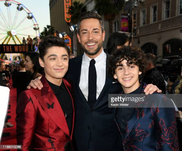 Asher Angel Zachary Levi and Jack Dylan Grazer arrive at the world premiere of Warner Bros Pictures and New Line Cinema's SHAZAM at TCL Chinese...
