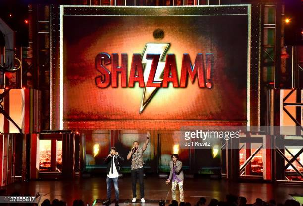 Asher Angel, Zachary Levi, and Jack Dylan Grazer perform onstage at Nickelodeon's 2019 Kids' Choice Awards at Galen Center on March 23, 2019 in Los...