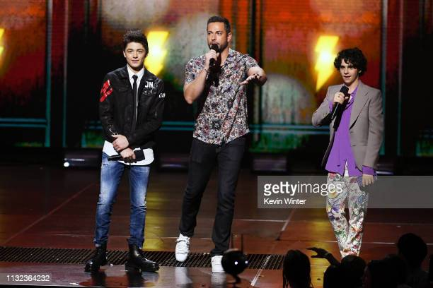 Asher Angel Zachary Levi and Jack Dylan Grazer speak onstage at Nickelodeon's 2019 Kids' Choice Awards at Galen Center on March 23 2019 in Los...