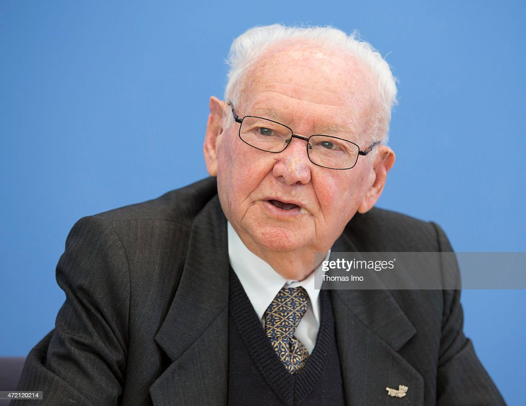 Asher Aud, a Holocaust survivor is seen during a press-conference on May 4, 2015 in Berlin, Germany.