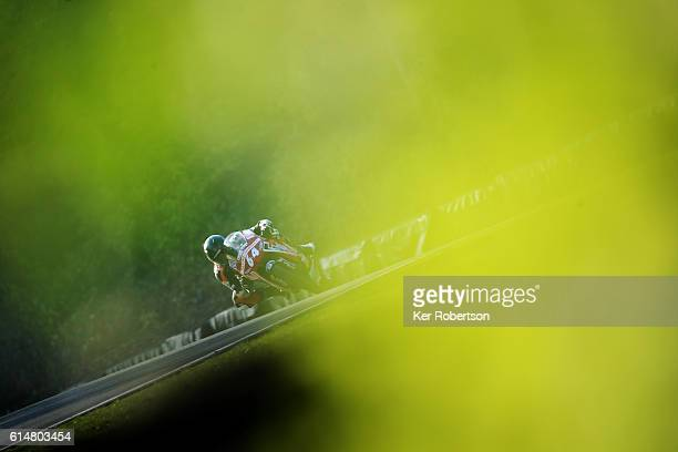 Asher Durham of Cresswell Racing Honda competes in the British Motostar Championship at Brands Hatch on October 15 2016 in Longfield England
