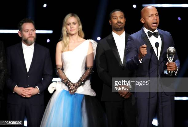 Asher Goldstein Brie Larson Michael B Jordan and Bryan Stevenson accept Outstanding Motion Picture for Just Mercy onstage during the 51st NAACP Image...