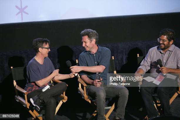 Asher Hartman David Fenster and Sudeep Sharma speak onstage at the Opuntia Redmond Hand and Private Dick Premieres during 2017 Los Angeles Film...