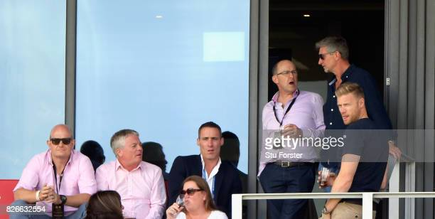 Ashes hero Simon Jones and Andrew 'Freddie' Flintoff watch play from a box during day two of the 4th Investec Test match between England and South...