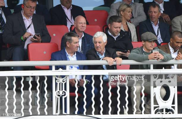 Ashes heroes Graham Gooch and Mike Brearley watch from the old pavilion during day three of the 4th Ashes Test Match between England and Australia at...