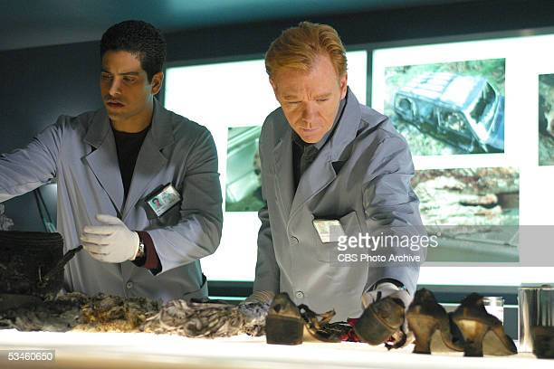'Ashes to Ashes' Delko and Horatio investigate the charred remains of a pregnant female victim and recover a diamond ring from her stomach on CSI...