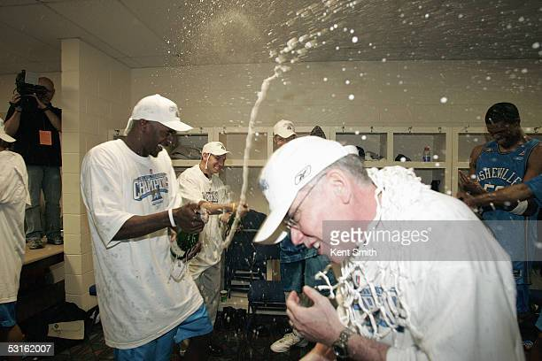 Asheville Altitude players celebrate in the locker room following the NBDL Championship Game against the Columbus Riverdragons at the Columbus Civic...