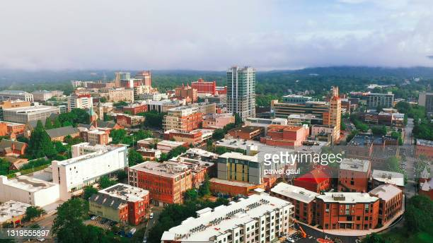 asheville city downtown north carolina aerial view - asheville stock pictures, royalty-free photos & images