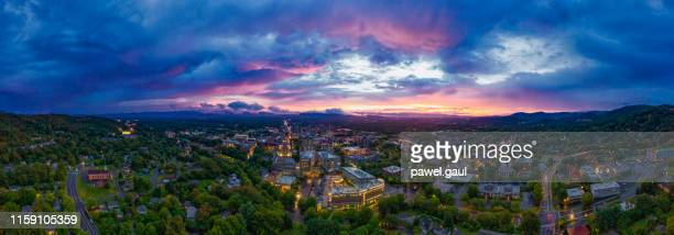 asheville north carolina aerial view at sunset - asheville stock pictures, royalty-free photos & images