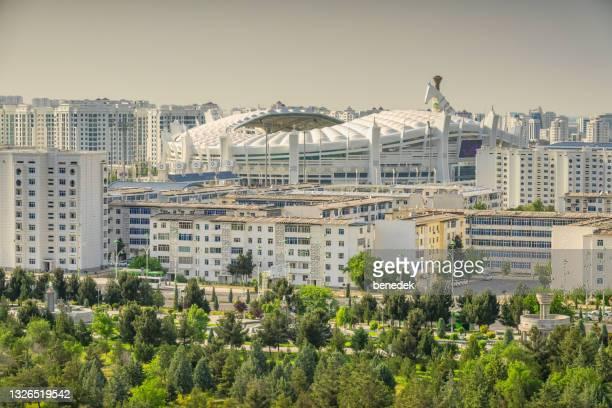 ashgabat turkmenistan cityscape olympic stadium - ashgabat stock pictures, royalty-free photos & images
