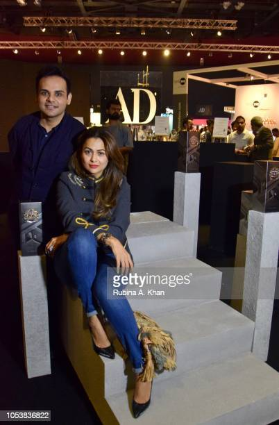 Ashiesh Shah and Amrita Arora at the launch of Chivas Regal India's limited edition festive pack designed by him at Dome on October 26 2018 in Mumbai...