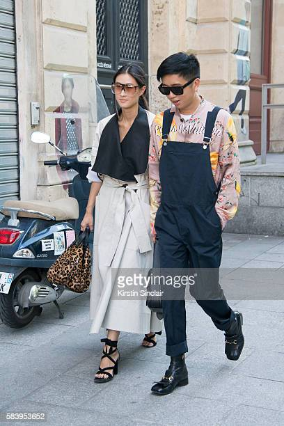 ashion Editor for Hong Kong Tatler Justine Lee wears a Toni Maticevski coat Loewe sunglasses and bag and Gianvito Rossi shoes and fashion stylist...