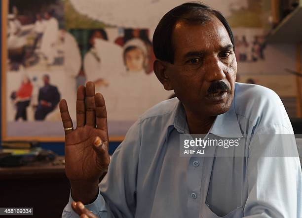 Ashiq Masih the husband of Asia Bibi a Pakistani Christian mother sentenced to death under blasphemy laws speaks during an interview with AFP in...