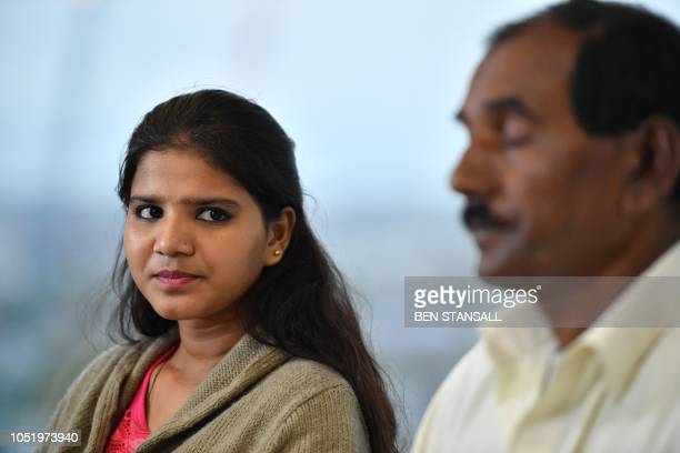 Ashiq Mesih and Eisham Ashiq the husband and daughter of Asia Bibi speak during an interview with AFP in London on October 12 2018 Asia Bibi a...