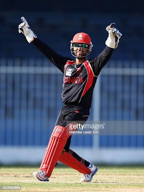 Ashish Bagai of Canada celebrates stumping Steve Tikolo of Kenya off the bowling of Raza Rehman during the ICC World Twenty20 Qualifier 11th Place...