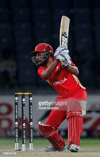 Ashish Bagai of Canada hits the winning runs during the ICC Cricket World Cup group A match between Canada and Kenya at Feroz Shah Kotla stadium on...