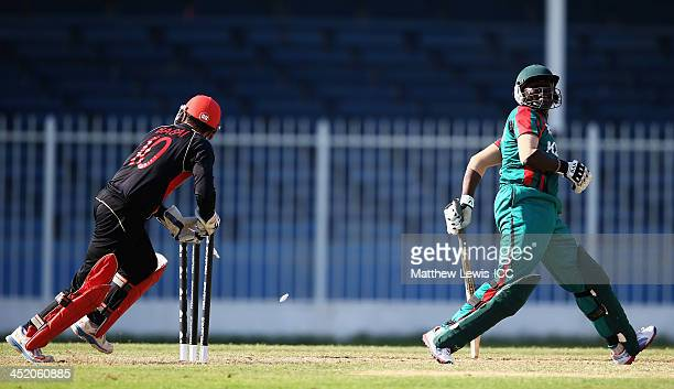 Ashish Bagai of Canada stumps Steve Tikolo of Kenya off the bowling of Raza Rehman during the ICC World Twenty20 Qualifier 11th Place Playoff between...