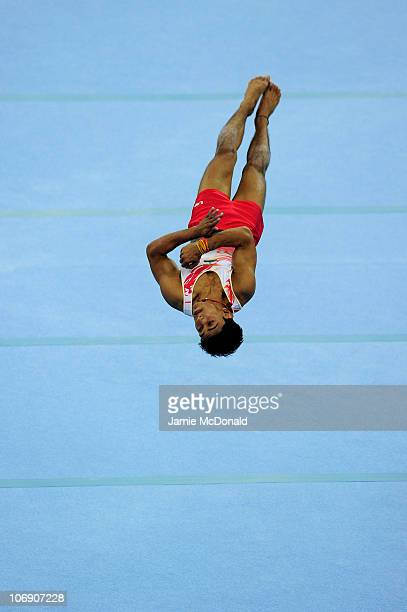 Ashish Kumar of India competes in The Floor at the Men's Apparatus Artistic Gymnastics Final at the Asian Games Town Gymnasium during day four of the...