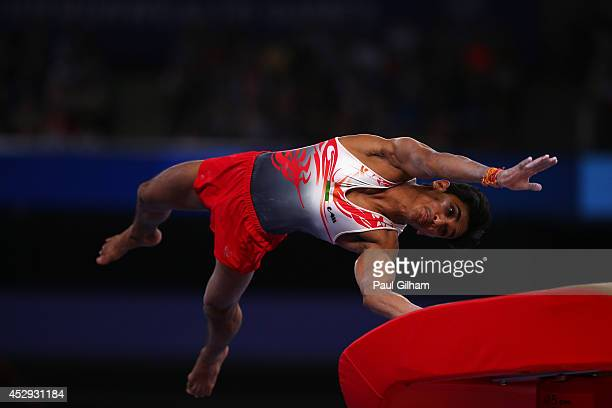 Ashish Kumar of India competes in the Vault during the Men's AllAround Final at SECC Precinct during day seven of the Glasgow 2014 Commonwealth Games...