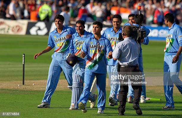 Ashish Nehra Mohammad Kaif Sourav Ganguly and Dinesh Mongia celebrate as India win the NatWest Series Final between England and India at Lord's...