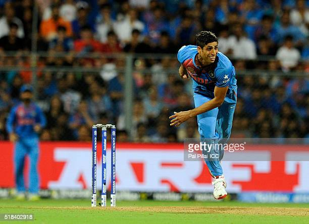 Ashish Nehra of India bowls during ICC World Twenty20 India 2016 Semi Final match between India and West Indies on March 31 2016 in Mumbai India