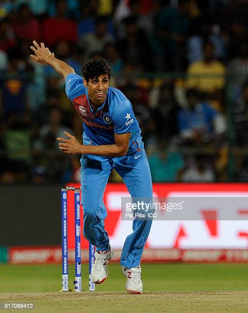 Ashish Nehra of India bowls during the ICC World Twenty20 India 2016 match between India and Bangladesh at the Chinnaswamy stadium on March 23 2016...