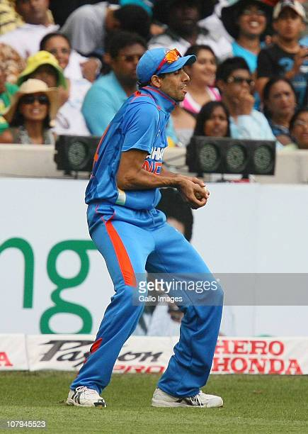 Ashish Nehra of India catches Morne van Wyk of South Africa during the Standard Bank Pro20 international match between South Africa and India at...