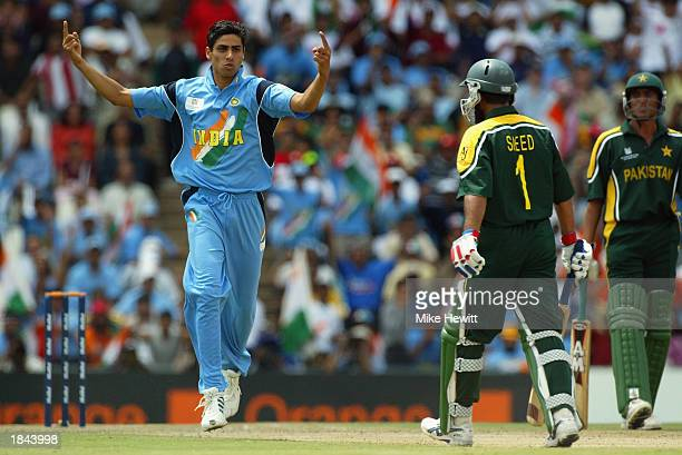 Ashish Nehra of India celebrates bowling Saeed Anwar of Pakistan during the ICC Cricket World Cup 2003 Pool A match between India and Pakistan held...
