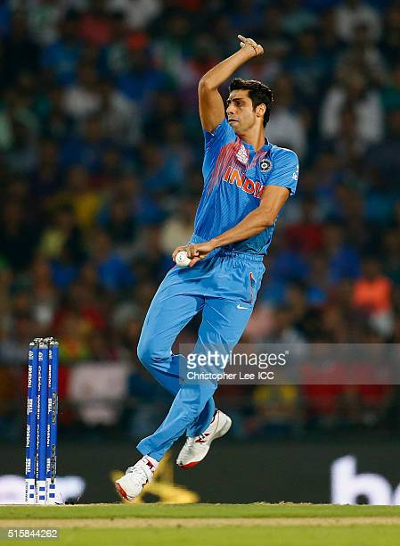 Ashish Nehra of India in action during the ICC World Twenty20 India 2016 Group 2 match between New Zealand and India at the Vidarbha Cricket...