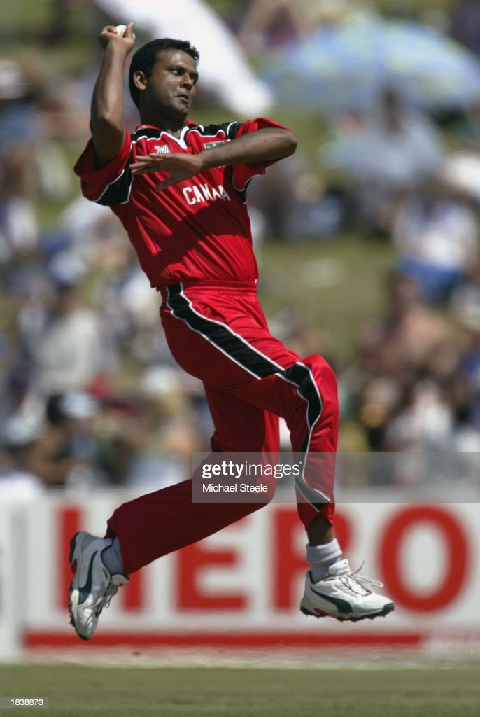Ashish Patel of Canada bowling during the ICC Cricket World Cup Pool B match between South Africa and Canada held on February 27, 2003 at Buffalo Park in East London, South Africa. South Africa won the match by 118 runs.